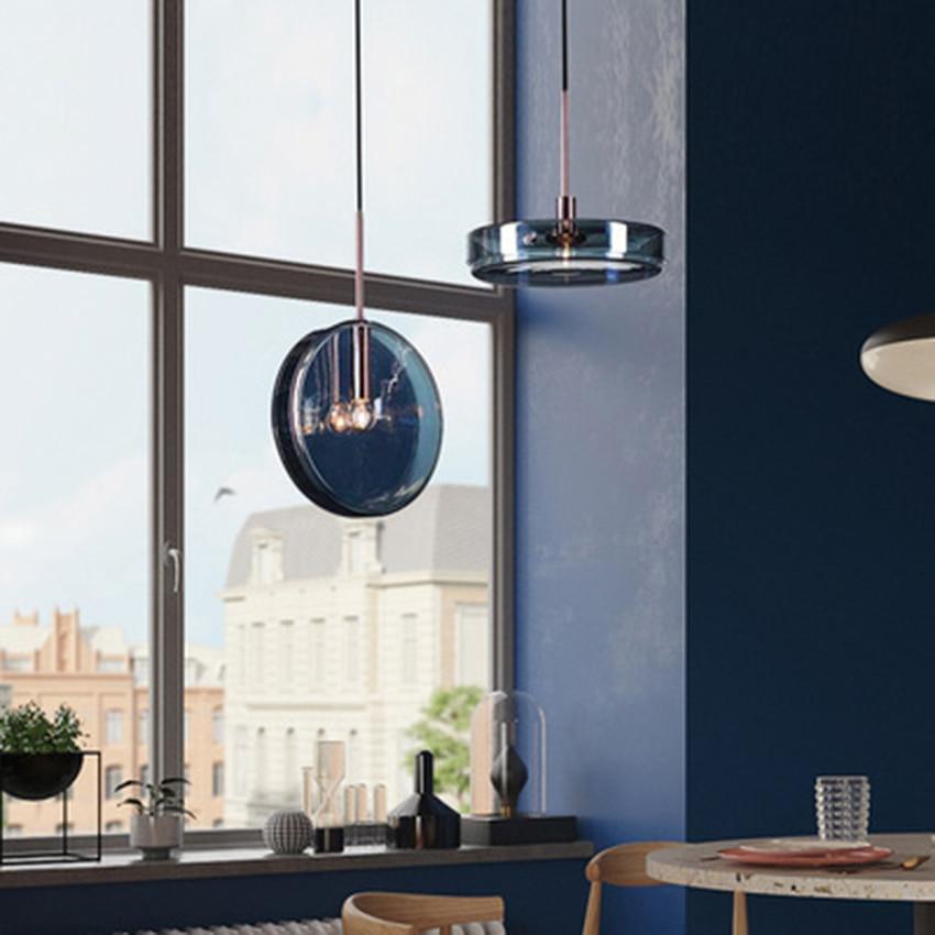 Pós moderna led luzes pingente de vidro azul iluminação romance criativo interior loft sala estar lâmpada quarto cabeceira deco luminária|Luzes de pendentes| |  - title=