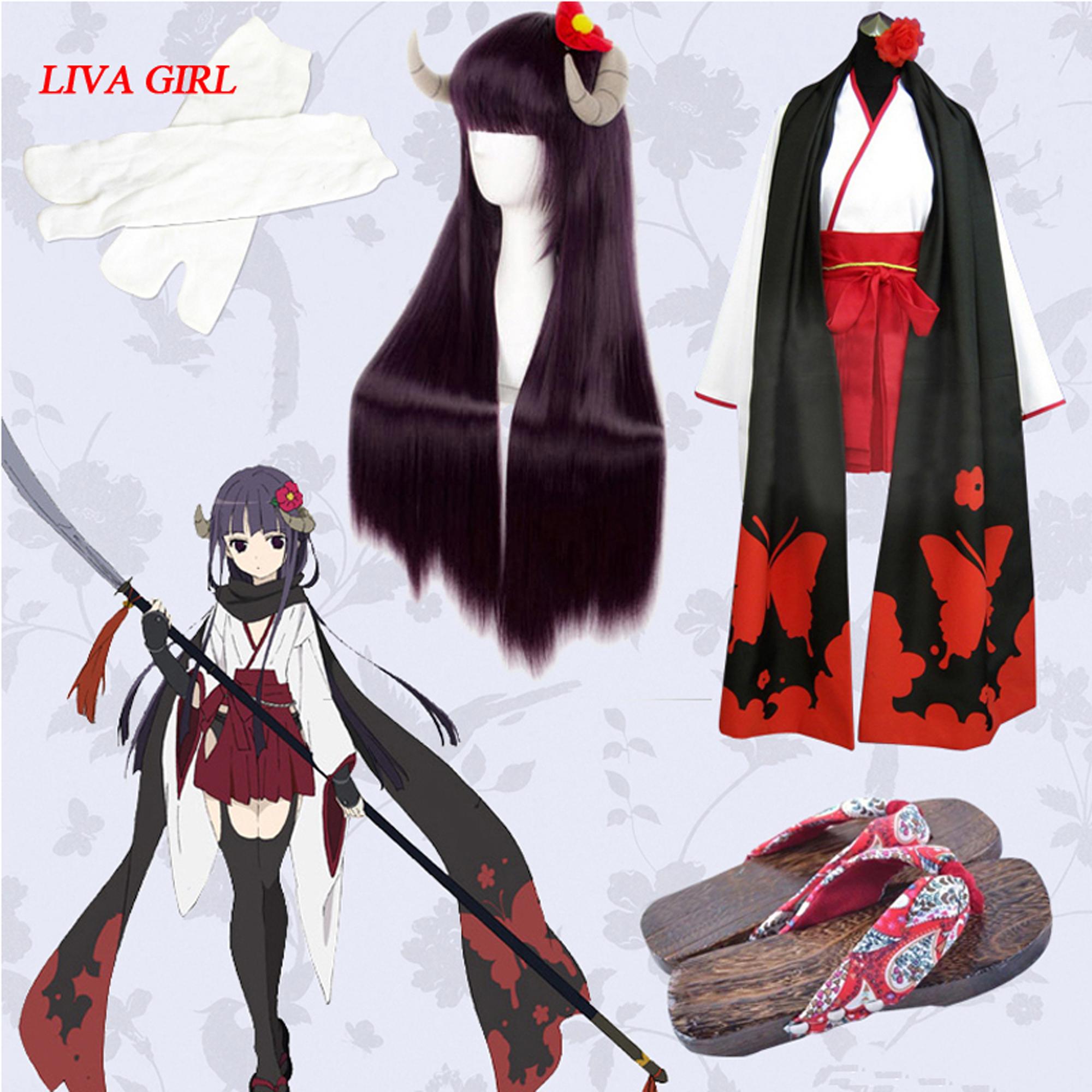 LIVA GIRL Hot Anime Inu X Boku SS Shirakiin Ririchiyo Cosplay Costume Wig Full Set Free Shipping