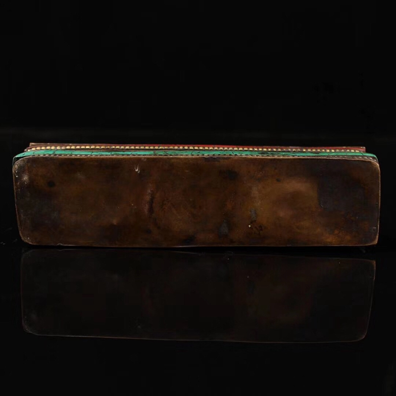 Collection Old Tibet Temple Pure Copper Gilt Hayagriva Vajra Pestle & Inlay Gem Box