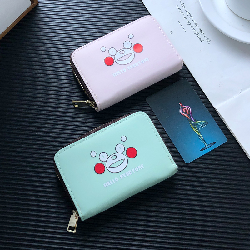 APP BLOG Cute Cartoon Kumamon Card Holder Passport Cover ID Credit Cards Bag Case Wallet Small Zipper Coin Purse For Women Men image