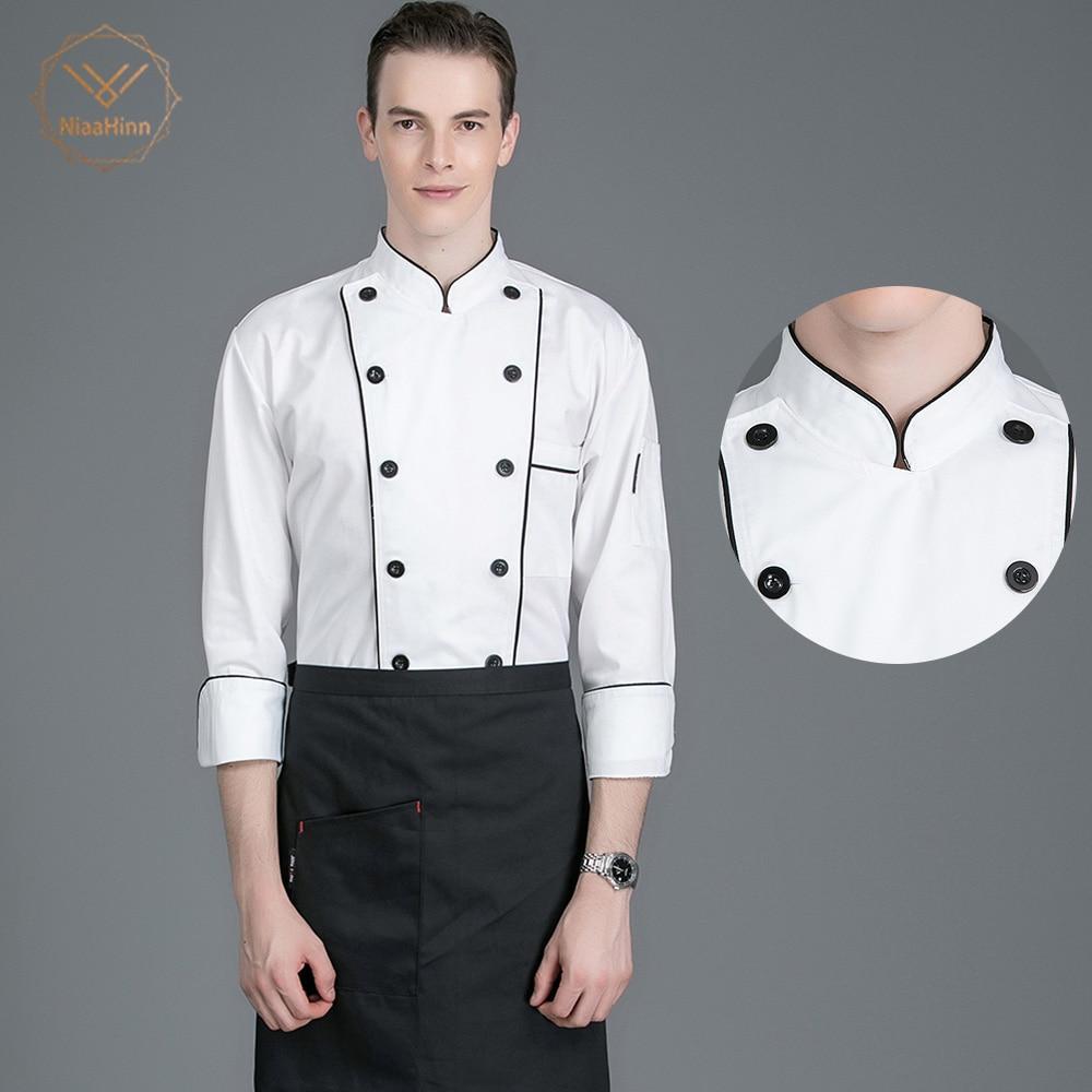 Wholesale Unisex Black Lines White Chef Jacket Bakery Clothes Chef Coat Long Sleeves Chef Restaurant Uniform Shirts Chef Uniform