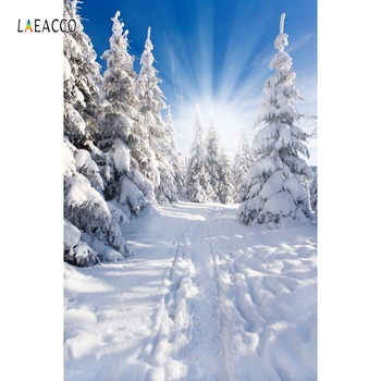 Laeacco Winter Snow Pine Tree Sunlight Scenic Photography Background Customized Photographic Backdrops For Photo Studio kate winter backdrops photography ice snow tree scenery photo shoot white forest world backdrops for photo studio