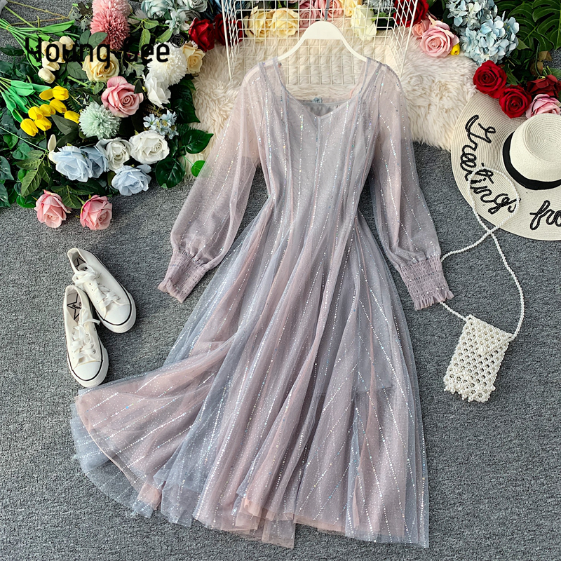 Young Gee Mint Green Campanulaceae Soft Lace Dress Vintage Women Sexy Mesh Sweet Pleated Femme Two Piece Sets Mid-calf Dresses