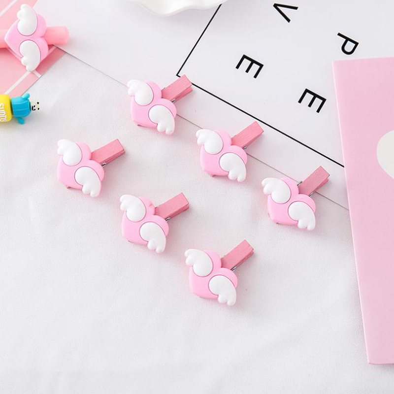 10 Pcs/set Mini Pink Love Heart Wings Wooden Memo Paper Clips Message Photo Clips Craft Decoration School Stationery