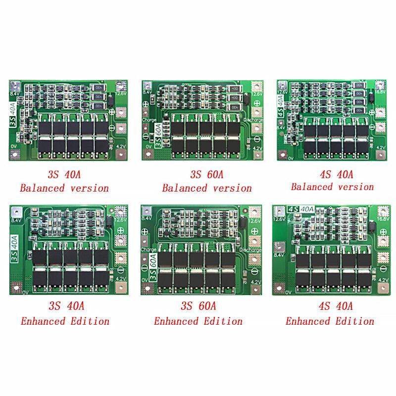 3s/4S 40a 60a li-ion bateria de lítio carregador placa de proteção 18650 bms para o motor de broca 11.1v 12.6v/14.8v 16.8v melhorar/equilíbrio