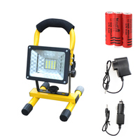 Outdoor Portable Floodlight Lamp 18650 Battery Power 30W 24LEDs Led Reflector Rechargeable Lights with Charger Camping Lantern