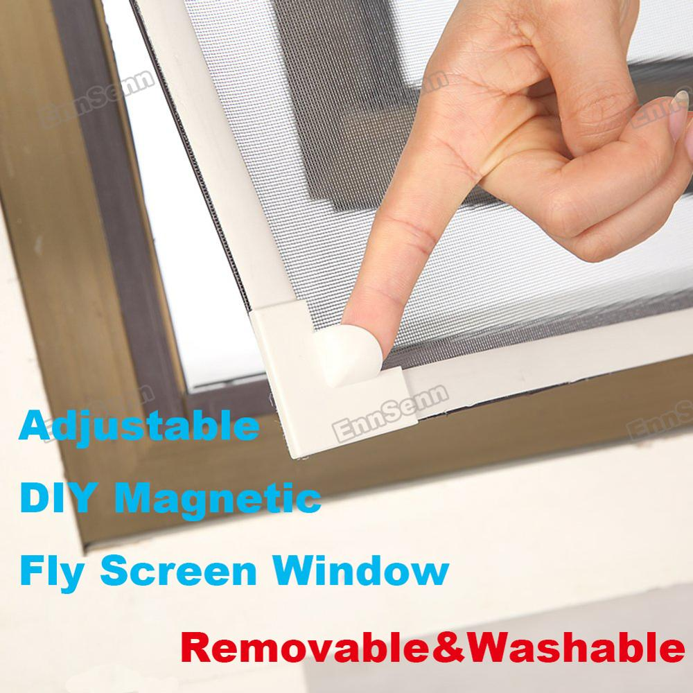 Invisible Fly Mosquito Screen Net Mesh, Adjustable DIY Magnetic Window Screen Windows Removable Washable, Assembly Accessories
