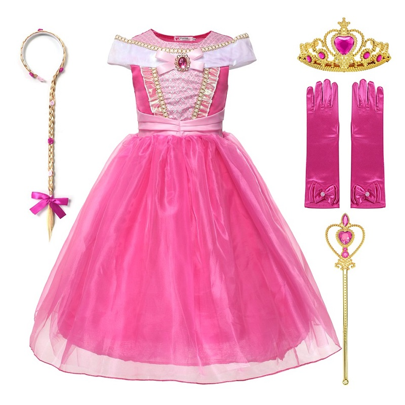 Dress-Up Birthday-Clothes Aurora-Costume Halloween Sleeping Beauty Off-Shoulder Little-Girls