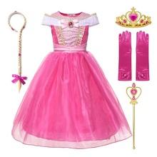 Małe dziewczynki księżniczka Aurora kostium bez rękawów Off ramię śpiąca królewna impreza z okazji Halloween element ubioru urodziny dzieci ubrania tanie tanio Poliester spandex Mesh CN (pochodzenie) Kostek O-neck Dziewczyny REGULAR Nowość Pasuje prawda na wymiar weź swój normalny rozmiar