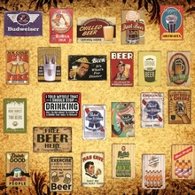 [Luckyaboy] Budweiser Pabst Blue Ribbon Mythos Beer Man Cave Cola Metal Tin Sign Pub Bar Garage Car Retro Decor AL011