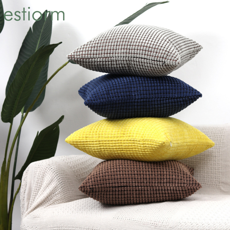 Decorative Throw <font><b>Pillow</b></font> <font><b>Covers</b></font> Soft Solid Square Corn Kernel Plush Cushion <font><b>Cover</b></font> <font><b>Pillow</b></font> Case for Couch Gray 30x50cm <font><b>50x50cm</b></font> image
