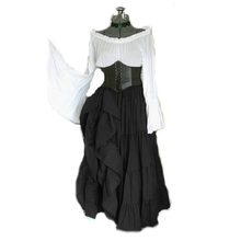 halloween women renaissance medieval cosplay costumes gothic retro elegant Ruffles long sleeve corset palace court princess dres