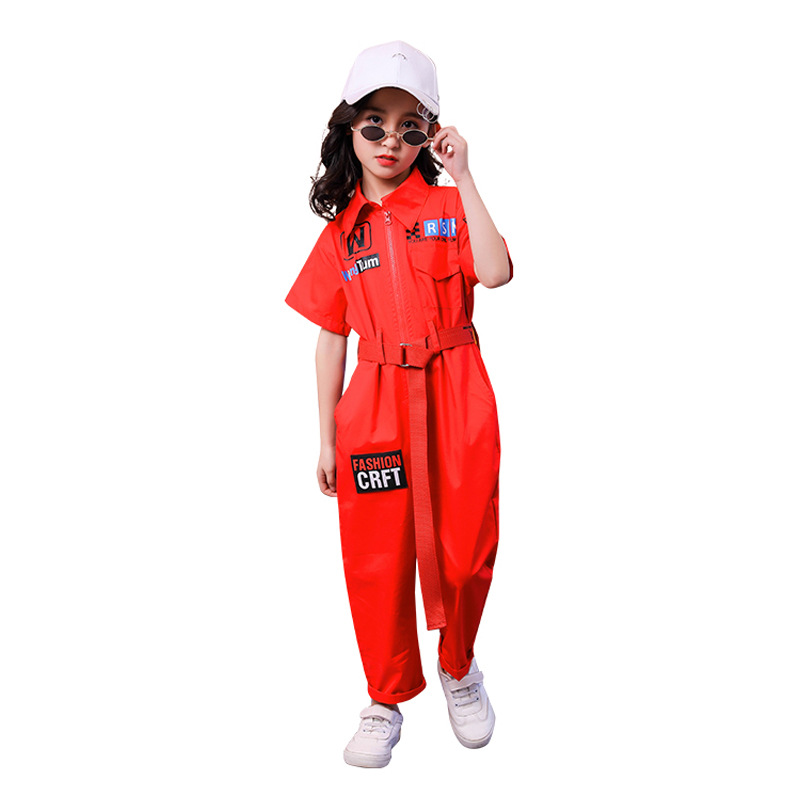 Image 4 - New Kids Clothes Girls Sets Casual Outfit Large Size Turn down collar Tops Jumpsuit Long Pants Waistband Straight Children SetsClothing Sets   -