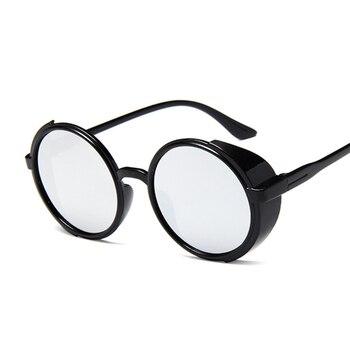 Steampunk من النظارات الشمسية المرأة الرجعية النظارات المستديرة نظارات الشمس الإناث البخار فاسق خمر أزياء النظارات oculos دي سول 1