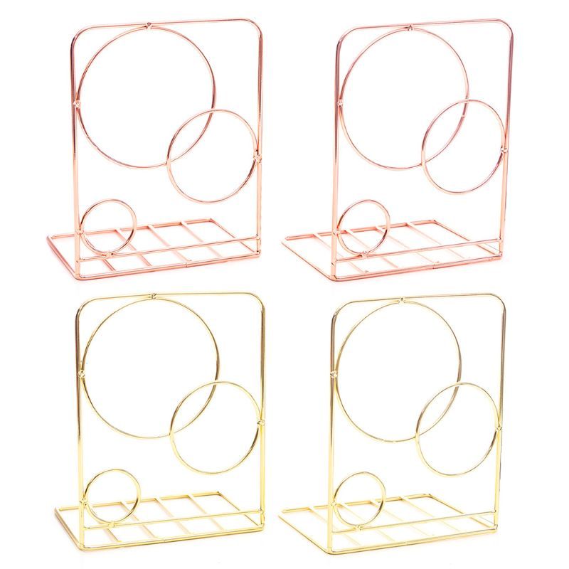 2pcs Round Metal Desktop Bookends Book Ends Support Stand Holder Shelf Bookrack