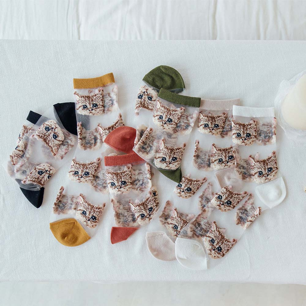 1 Pair Cute Cat Embroidery Women Socks Summer Fashion Transparent  Ultra Thin Lace Silk Crystal Elastic Short Socks Female Sox