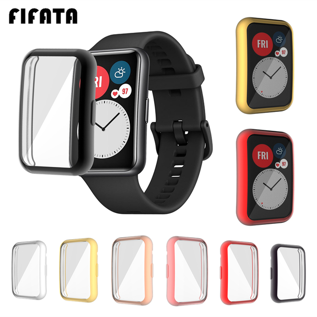 FIFATA TPU Soft Protective Cover For Huawei Watch Fit Case Full Screen Protector Shell Bumper Plated Cases For Huawei Fit Watch 1