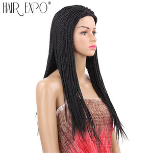 Image 2 - 22inch Long Box Braid Wig Black and Brown Synthetic Micro Twist Braid Wigs Hair for African Women Hair Expo City