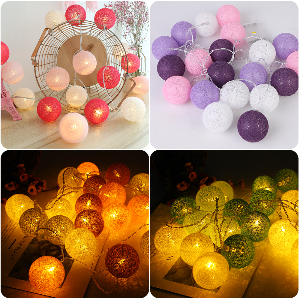 Junejour 3M LED Cotton Ball Lights Decoration Outdoor Garland Light Holiday Wedding Christmas Party Bedroom Fairy String Light