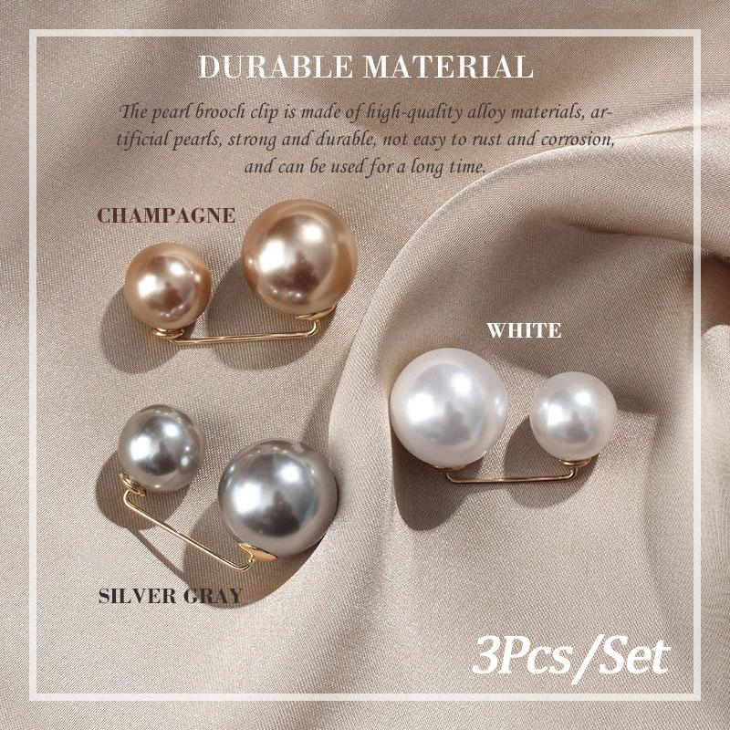 3Pcs/Set Double Pearl Pins for Women Designer Female Brooches Clothes Accessories Simulated Pearl Knit Shirt  Jewelry 1