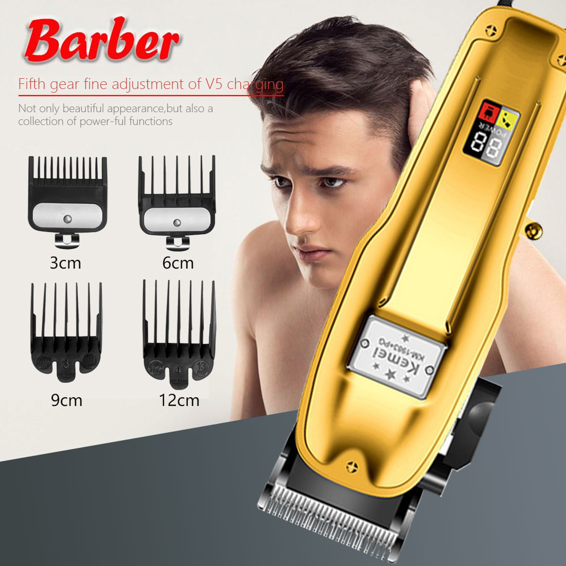 Hair Clipper Professional Barber Clippers Adjustable Cutter Hair Trimmer Barber Haircut Rechargeable Hair Clipper Cordless Men