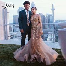 Элегантное светло коричневое вышитое бисером длинное платье