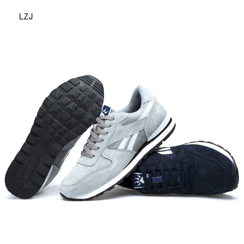 LZJ mannen Echt Lederen Sneakers Ademende Casual Schoenen antislip Outdoor Wandelschoenen Licht Gewicht Rubberen Zool Lace -up