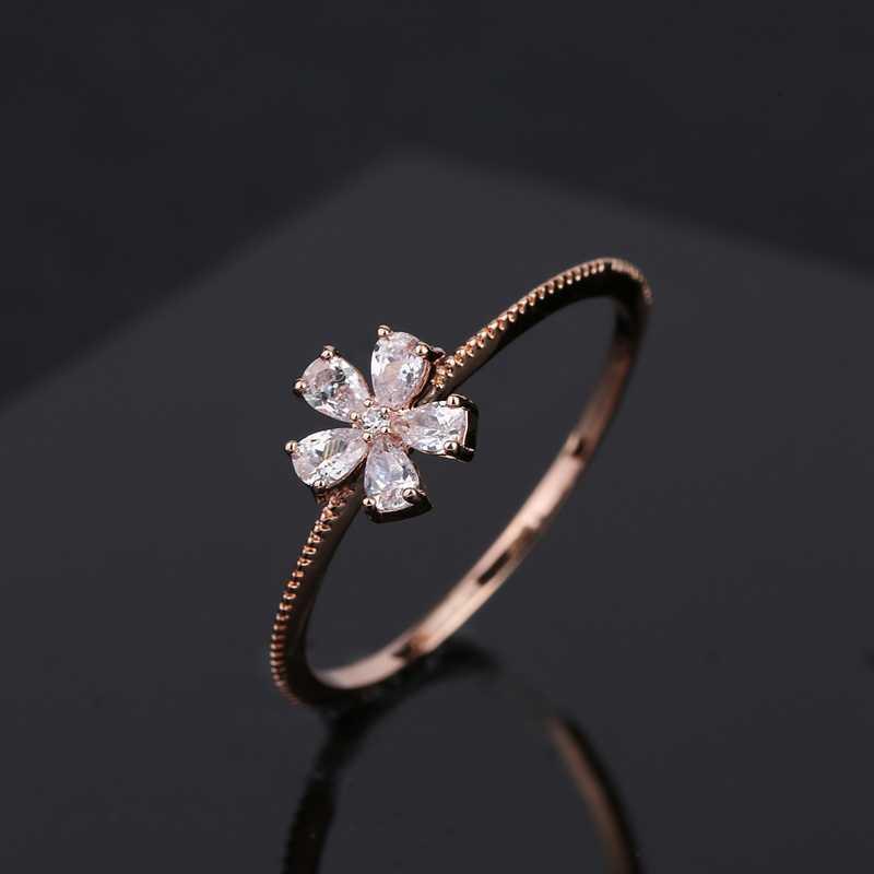 MIGGA brillant cubique Zircon pierre fleur anneau pour femmes filles Rose or couleur CZ cristal bijoux