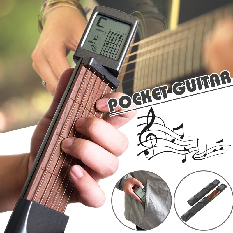 Pocket Guitar Chord Exerciser Solo Six Portable Guitar With Screen Display Exerciser