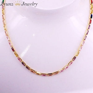 Image 5 - 5PCS, CZ chain necklace women choker Colorful cz crystal zirconia Gold /Silver Color necklace for women