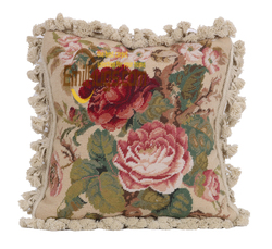 Completed Hand Crafted Needlepoint Colorful Floral White Cotton Cushion Covers New woolen woolenen Needlepoint Christmas