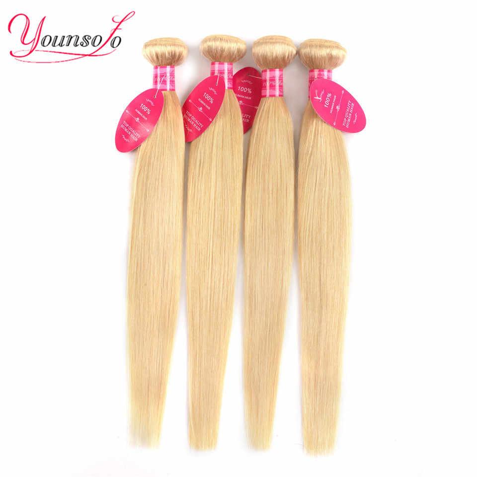 Younsolo Braziliaanse 613 Blonde Bundels Steil Haar Blonde 4 Bundels Remy Haar Weven Menselijk Haar Bundels 8-26 Inch