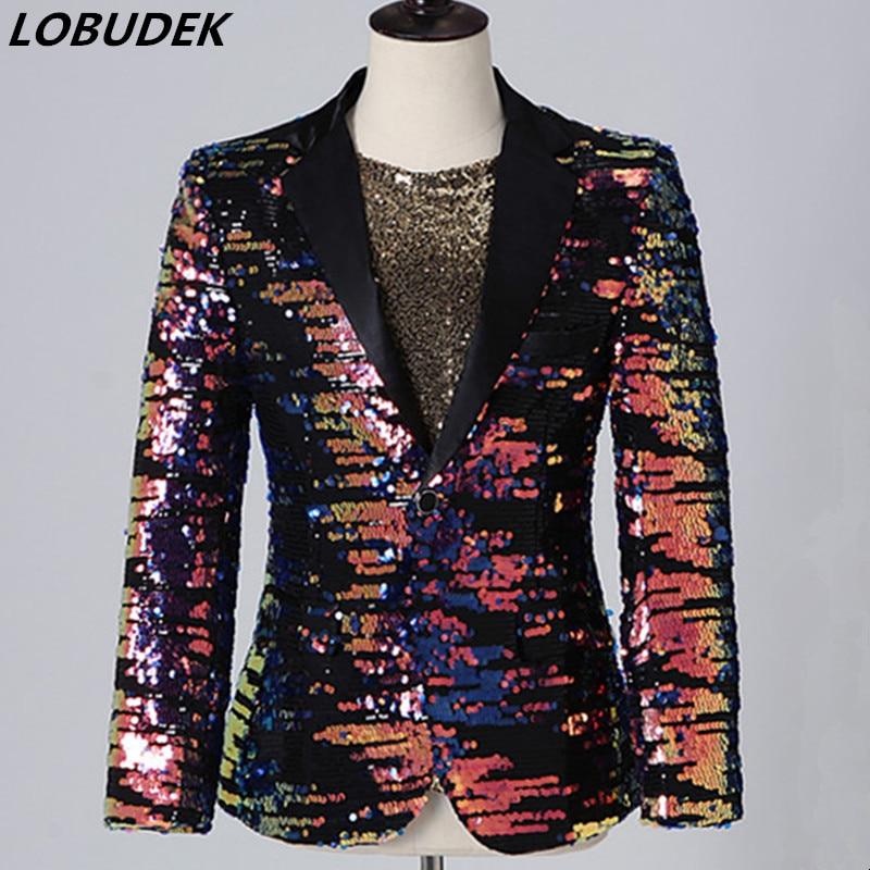 Men Multi-color Sequins Blazer Suit Jackets Bar Nightclub Concert Male Singer Stage Casual Coat Singer Host Performance Costume