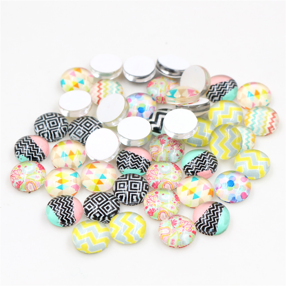 New Fashion Hot Sale 50pcs 8mm And 10mm Two Size Mixed Handmade Lines Photo Glass Cabochons