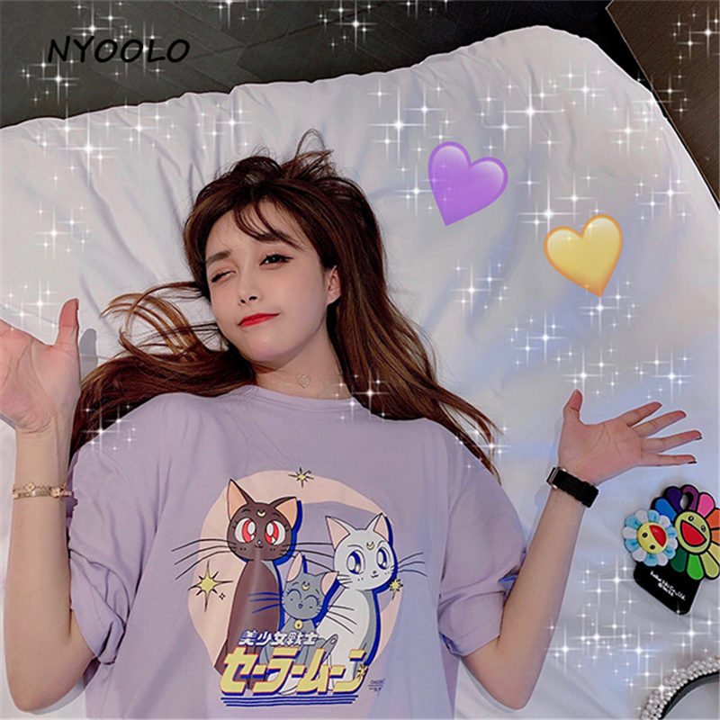 NYOOLO Harajuku Style Cute Cartoon Sailor Moon Letters Print Short Sleeve T-shirt Girls Women Summer Loose O-neck Tee Shirt Tops
