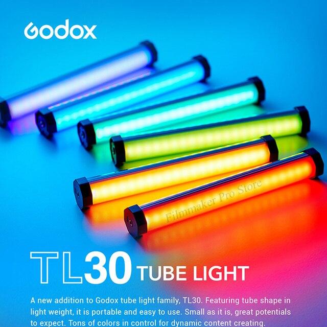 Godox TL30 بافو مصباح أنبوبي RGB التصوير المصغرة يده ضوء عصا مع APP التحكم عن بعد للصور فيديو فيلم Vlog VS 6C