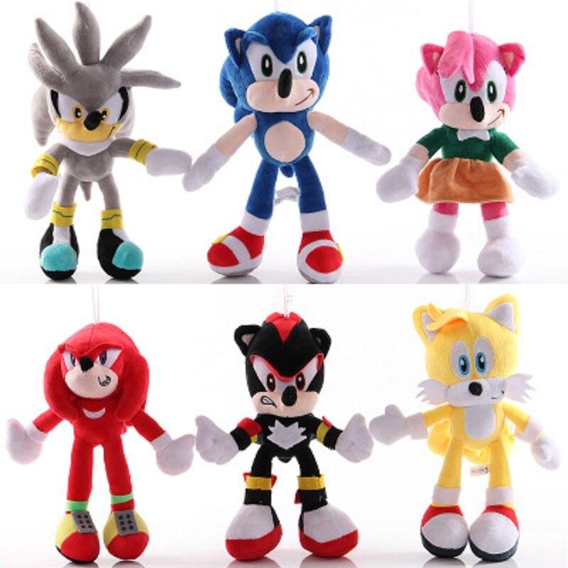 30cm Sonic The Hedgehog Plush Doll Blue Yellow Gray Plush Toy Cartoon Action Figure Toy Decoration Kid's Birthday Gift