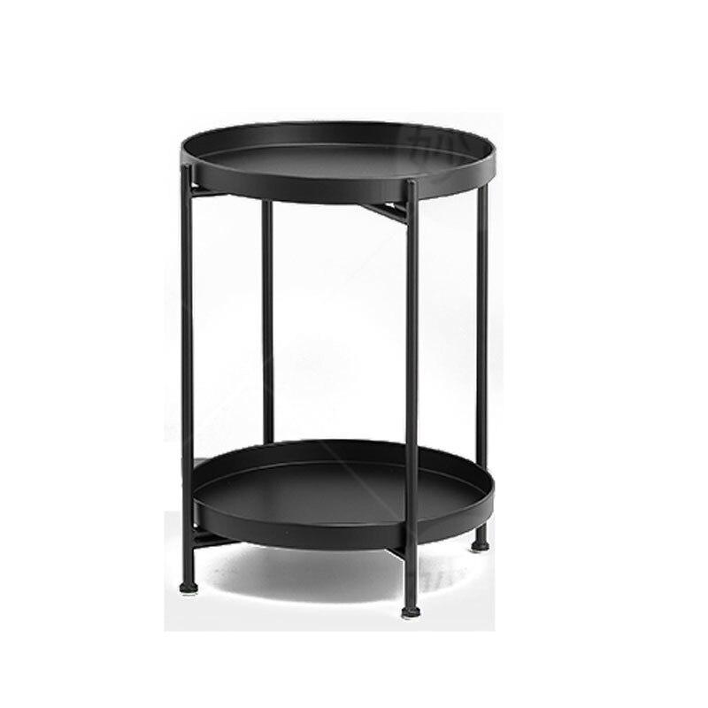 Light luxury high end iron tea table multifunctional double deck sofa corner table Mini round table