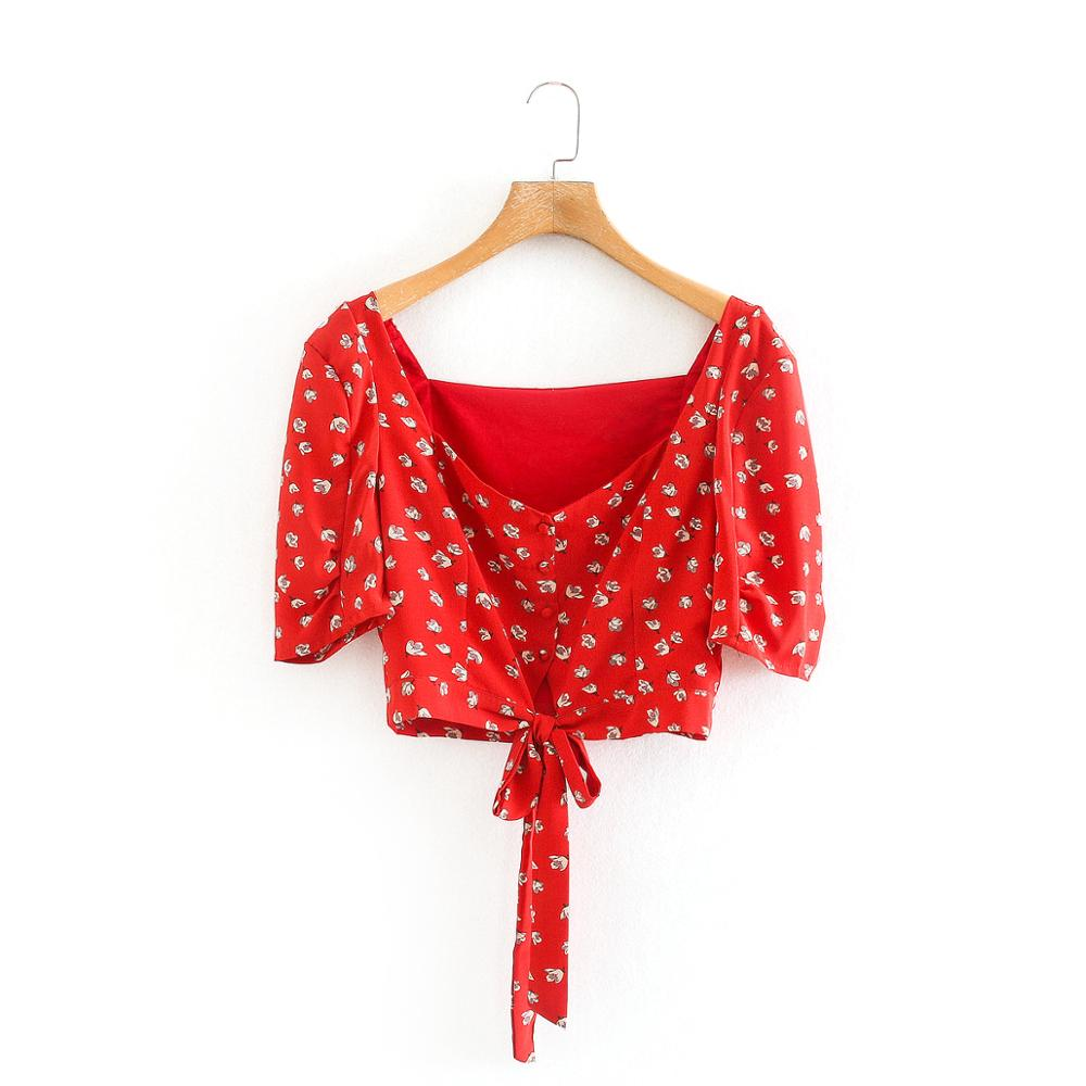 New 2020 Women Square Collar Flower Print Hem Bow Tied Red Blouse Ladies Short Sleeve Casual Slim Shirts Chic Blusas Tops LS6671