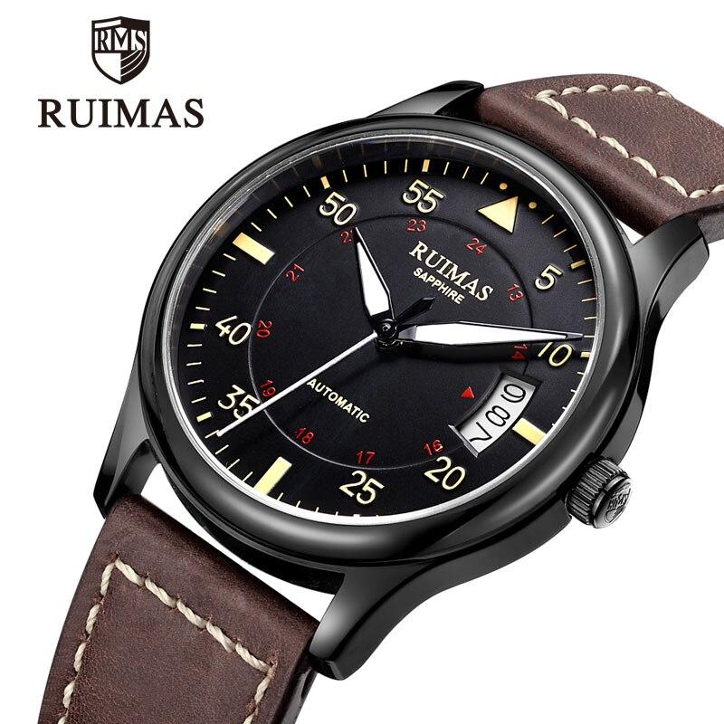 Homem de Luxo Relógio do Esporte Ruimas Relógio Mecânico Automático Marca Superior Clássico Homem Relógios Masculino