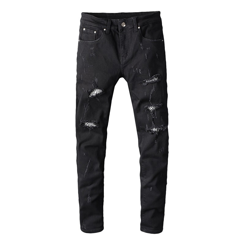 Sokotoo Men's Zebra Print Crystal Black Ripped Jeans Slim Skinny Holes Destroyed Stretch Denim Pants