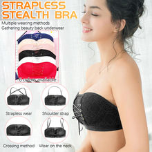 Women Strapless Bra Stealth Wire Free Bras Bandage Brassiere Tira Underwear Sexy Lingerie Invisible Closure Bras d3(China)
