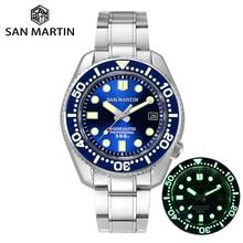 산 마틴 새로운 다이버 시계 남자 자동 기계식 시계 사파이어 크리스탈 세라믹 베젤 날짜 창 빛나는 30Bar 방수