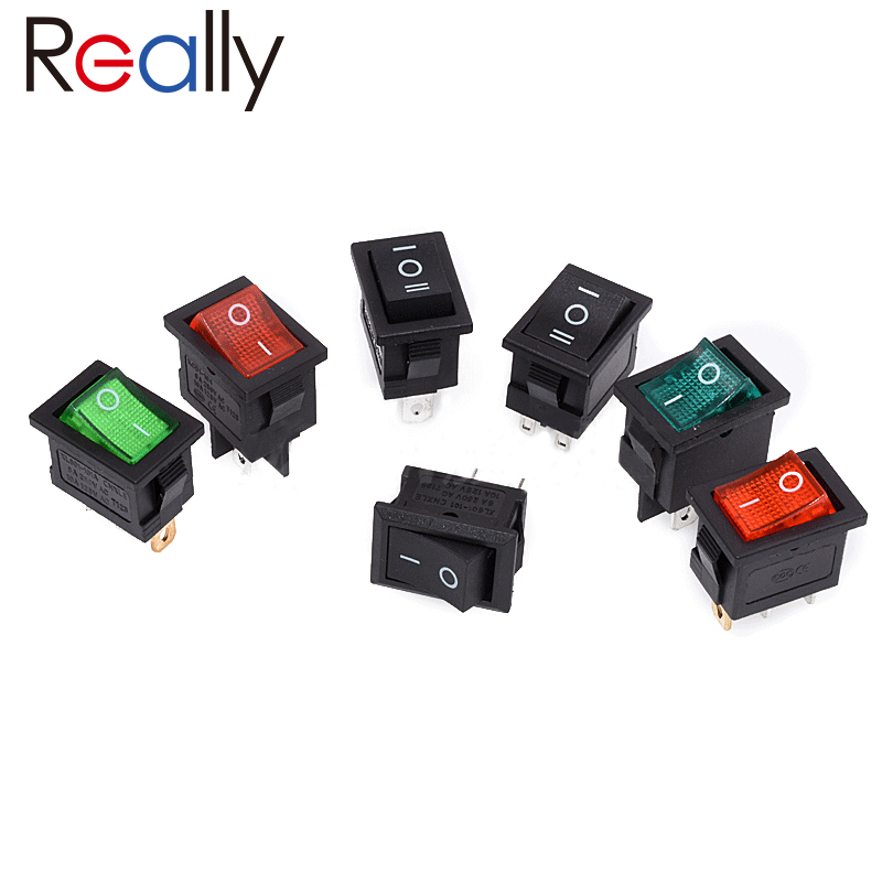 10Pcs KCD1 Series 2/3/4/6 Pin Rocker Switch Power Switches 6A/250V 10A/125V AC 2/3 Position Black Button Mounting 15mm x 21mm