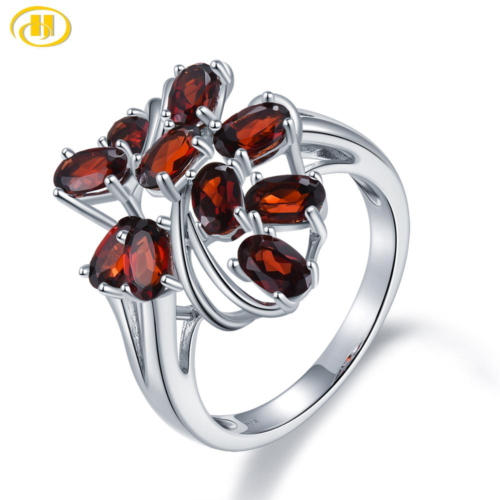 Hutang 2.76Ct Natural Red Garnet Gemstone Ring for Women 925 Sterling Silver Vintage Cocktail Rings Fine Elegant Jewelry