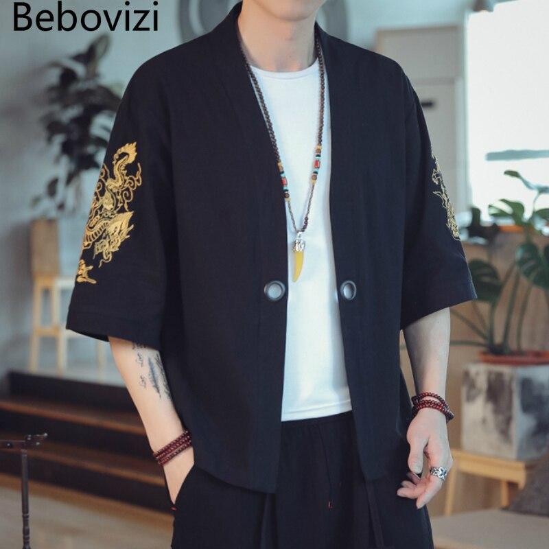 Bebovizi Cotton Chinese Dragon Embroidery Kimono Men Cardigan Top Summer Loose Japanese Black Jackets Coat Haori Asian Clothing