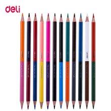 Deli, креативные дихроматические Профессиональные цветные карандаши для школы, для детей, рисование, художественная поставка, качество, масло, дерево, пастельный набор карандашей