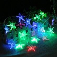 Железная металлическая гирлянда в виде морской звезды, 10 светодиодов, 20 светодиодов, Сказочная гирлянда в виде морской звезды, 1,5 м, 3 м, ЕС, 220 В, на батарейках, Свадебная вечеринка, Рождественский Декор