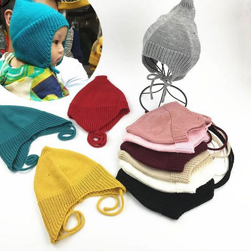Hat Bomber-Hats Winter Children New of And Autumn The Wool Solid Bandage Pointed-Tip