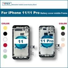 Dla iPhone 11 Pro tylna pokrywa + środkowa rama podwozia + taca SIM + boczne części klucza obudowa obudowy baterii dla iPhone 11